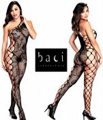 Baci Lingerie [ UK 8 - 14 ] Black Lace Off The Shoulder Open Style Bodystocki...